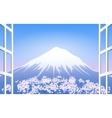 Cherry Blossoms around Mount Fuji vector image