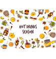 colorful collection with hot drinks mulled wine vector image vector image