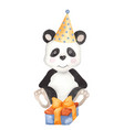 cute cartoon panda toy in birthday cone with gift vector image