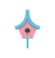 Cute pink nesting bird with blue roof flat