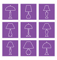 Different types table lamps flat icons on purp