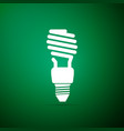 energy saving light bulb icon on green background vector image vector image