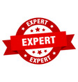 expert ribbon expert round red sign expert vector image vector image