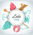 Fishing banner lake time text background with vector image