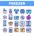 freezer cooling appliance linear icons set vector image vector image