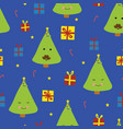 fun cute christmas trees with faces with mustache vector image