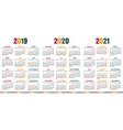 german calendar 2019 - 2021 vector image vector image