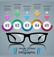 glasses icon abstract infographi vector image vector image