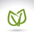 Hand drawn simple green eco leaves icon real ink vector image vector image