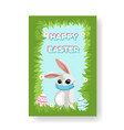 happy easter card with a cartoon bunny in a face vector image vector image