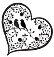 heart with birds and flowers vector image vector image