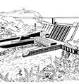 Hydroelectric power station vector image
