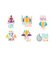india yoga studio center logo design set sport vector image