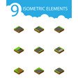 isometric way set of downward down turning and vector image vector image