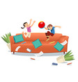 kids jumping on the couch playing with a ball vector image