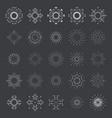 lineart sun radiant sunburst design icons set vector image vector image