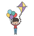 little boy cartoon character with kite and vector image vector image