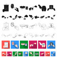 manipulation by hands flat icons in set collection vector image vector image