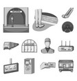 metro subway monochrome icons in set collection vector image vector image