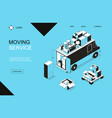 moving to a new house concept banner card with vector image