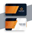 orange business card modern template design vector image vector image