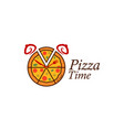 pizza logo that looks like an alarm clock vector image