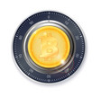 safe lock with crypto currency coin of bitcoin vector image vector image
