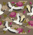 seamless pattern with cranes birds and peonies vector image