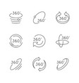 set line icons 360 degrees rotation vector image