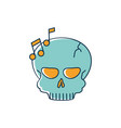 skull note musical melody sound music line and vector image