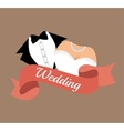 Suit and bridal gown wedding design graphic