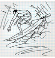 Surfing sketch vector image
