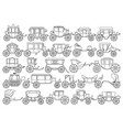 vintage carriage outline line set icon vector image vector image