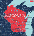wisconsin state detailed editable map vector image vector image
