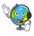 with headphone globe mascot cartoon style vector image