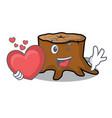 with heart tree stump mascot cartoon vector image