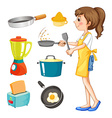 Woman cooking and other kitchen objects vector image