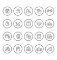 set round line icons of fitness vector image