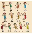 Little toy men play run jump vector image