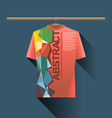 Abstract red shirt with colored logo vector image