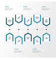 antibiotic outline icons set collection of pills vector image