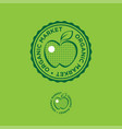 apple organic market logo food emblem stamp vector image