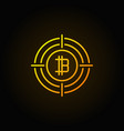 bitcoin in crosshair outline icon vector image vector image