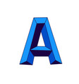 blue letter a in cartoon style monogram emblem vector image vector image