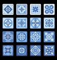blue portuguese ceramic mosaic tile floral set vector image vector image