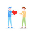 boy giving red heart to boy father flat vector image vector image