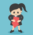 business woman are sad at hand with arrow vector image vector image