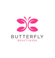 butterfly logo with leaf icon vector image vector image