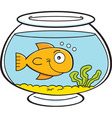 Cartoon goldfish bowl vector image vector image