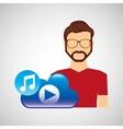 cartoon man hipster cloud music play vector image
